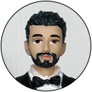 Painted Full Beard with Mustache Facial Hair Groom Wedding Cake Top