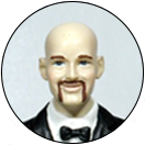 Painted Mustache Facial Hair Groom Wedding Cake Top