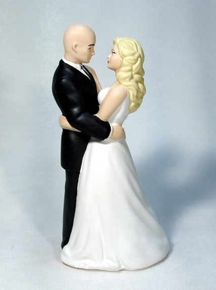 Dance With Me Bride with Bald Groom M43 Wedding Cake Topper