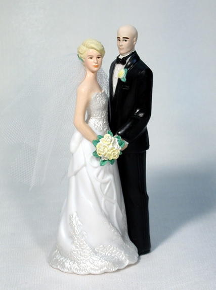 Our Day Bride with Bald Groom M400 Wedding Cake Topper
