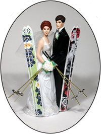 Custom Color Skis Bride and Groom