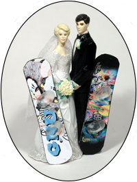 Custom Color Pattern Snowboards for Bride and Groom