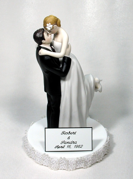 Engraved Plate First Names Bride Groom Wedding Date Cake Topper