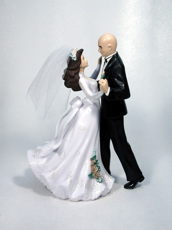 First Dance Bald Groom M25 Wedding Cake Top