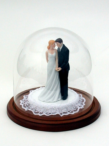 Glass Dome Wood Base Protect Bride and Groom and Ornament Base
