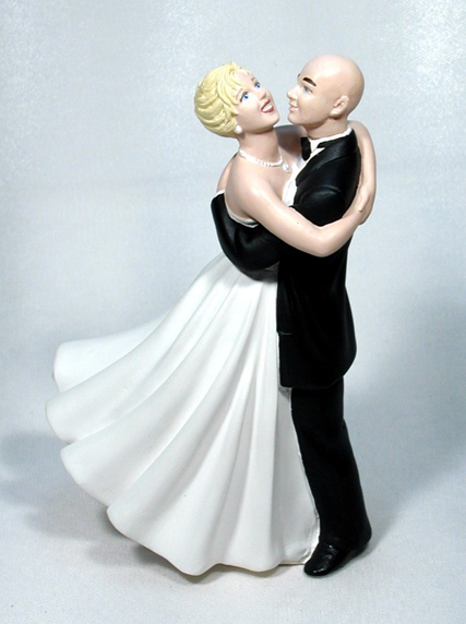 Joyful Embrace Bride with Bald Groom M38 Wedding Cake Top