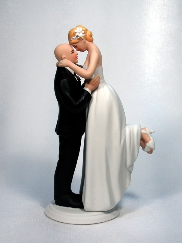 Perfect Match Bald Groom with Bride M100 Wedding Cake Top