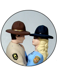 Custom Color Trooper State Police Bride and Groom Hats Wedding Cake Top