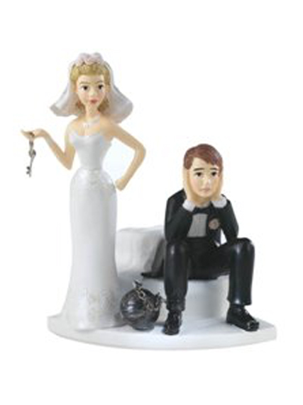 Ball and Chain Hopeless Bride and Groom Wedding Cake Top