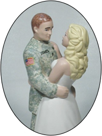 Groom Wearing Military Camouflage Uniform Cake Top