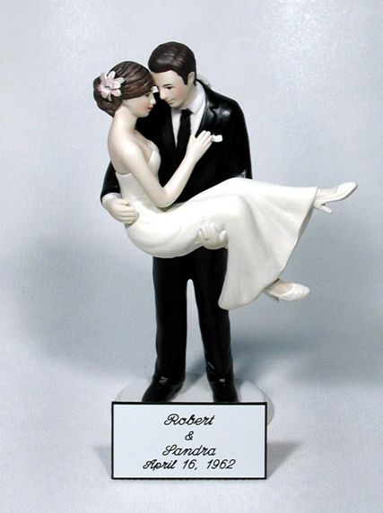 Engraved Plate First Names Bride Groom and Wedding Date for Cake Topper