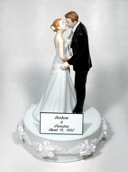 Engraved Plate First Names Bride Groom Wedding Date for Cake Topper